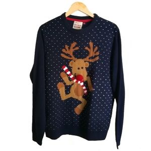 Ugly Christmas Deer Navy Blue Sweater, size L